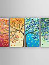 Pictat manual Abstract Orizontal,Modern/Contemporan O noua sosire Patru Panouri Canava Hang-pictate pictură în ulei For Pagina de decorare