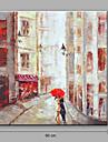 HANDMÅLAD Abstrakt Fyrkantig, Abstrakt Duk Hang målad oljemålning Hem-dekoration En panel