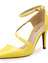 Pentru femei Pantofi Sintetic / Piele Originală Primăvară / Vară Confortabili Tocuri Toc Stilat Vârf ascuțit Alb / Negru / Galben