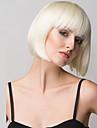 Femme Perruque Synthetique Mi Longue Droite Blond Coupe Carre Avec Frange Perruque Naturelle Perruque Halloween Perruque de carnaval