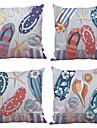 4.0 pcs Naturel/Organique Polyester Taie d\'oreiller Housse de coussin, Couleur Pleine Fleur Tartan Texture Decontracte Plage Euro