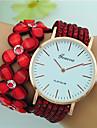 Pentru femei Ceas Brățară Quartz Mare Dial Piele Bandă Floare Boem Negru Alb Albastru Roșu Maro