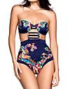Pentru femei Florale Imprimeu Bustieră Monokini Costume de Baie Floral Bloc de Culoare Albastru piscină