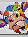Hang-ζωγραφισμένα ελαιογραφία Ζωγραφισμένα στο χέρι - Ζώα Σύγχρονη Σύγχρονη Περιλαμβάνει εσωτερικό πλαίσιο / Επενδυμένο καμβά
