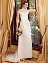 Funda / Columna Cuello Alto Corte Organza Vestidos de novia hechos a medida con Encaje por LAN TING BRIDE®
