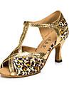 Damă Latin Mătase Imitație de Piele Sandale Adidași Profesional Cataramă Toc Stilat Auriu Leopard Personalizabili
