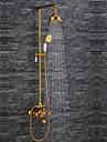 Nutida Lyx Glam Hög kvalitet Väggmonterad Regndusch Väggfäste Keramisk Ventil Två handtag två hål Ti-PVD, Duschkran