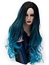 Synthetische Peruecken Natuerlich gewellt Blau Wasserblau Synthetische Haare Damen Gefaerbte Haarspitzen (Ombré Hair) Blau Peruecke Lang Kappenlos
