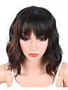 Syntetiskt hår peruker Vågigt Vattenvågor Naturligt vågigt Naturlig peruk Korta Svart