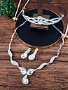 Mujer Conjunto de joyas Corona Moda Incluir Collar Pendientes elegantes por delante y por detras Blanco Para Boda