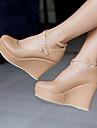 Pentru femei Pantofi PU Primăvară / Vară Confortabili Tocuri Toc Platformă Vârf rotund Negru / Roz / Migdală