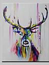 Hang målad oljemålning HANDMÅLAD - Abstrakt Djur Popkonst Moderna Duk