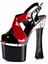Mulheres Sapatos Couro Ecologico Verao Sapatos formais Sandalias Salto Carretel Peep Toe Presilha / Cadarco Roxo / Vermelho / Verde