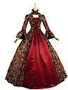 Vintage Victoriansk Rokoko Kostym Dam Vuxna Klänningar Maskerad Festklädsel Röd Vintage Cosplay Vadderat tyg Långärmad Golvlång