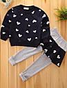 Fete Set Îmbrăcăminte Geometic Bumbac Primăvară Toamnă Manșon Lung Floral Haine Roșu-aprins Roz Îmbujorat Bleumarin