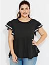 Femei Rotund Tricou Casul/Zilnic Plus Size / Șic Stradă,Mată Manșon scurt Vară-Negru / Gri Mediu Bumbac