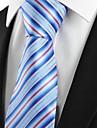 Bărbați Cu Dungi Toate Sezoanele Dungi Poliester,Cravată Albastru Deschis