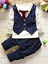 Băieți Set Îmbrăcăminte Mată Bumbac Primăvară Toamnă Manșon Lung Verificare Negru Roșu-aprins