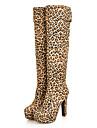 Dam Skor Filt Vinter Höst Komfort Originell Mode Stövlar Stövlar Bastant klack Rundtå Knähöga stövlar för Formellt Svart Brun Blå Leopard