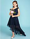 A-linje Enskuldret Asymmetrisk Chiffon Junior brudepikekjole med Sidedrapering av LAN TING BRIDE® / Bryllupsfest
