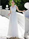 Sheath / Column V Neck Sweep / Brush Train Chiffon Made-To-Measure Wedding Dresses with Appliques / Crystals by LAN TING BRIDE® / See-Through / Beautiful Back