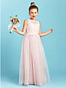 A-linje / Prinsesse Besmykket Gulvlang Tyll Junior brudepikekjole med Appliqué / Plissert av LAN TING BRIDE® / Bryllupsfest / Gjennomsiktig