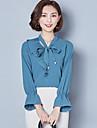 Pentru femei În V Bluză Mată Sleeve Flare, Funde Poliester