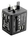 waza® adaptor de călătorie universal 2.1a 2 porturi de încărcare usb în toată lumea, toate într-un singur încărcător de perete convertor universal