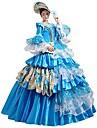 häxa Prinsessa Queen Cosplay Kostymer/Dräkter Halloween Karnival Nyår Festival / högtid Halloweenkostymer Blå Tryck Ensfärgat Spets