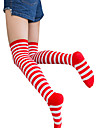 Men\'s Sexy Lolita Socks / Long Stockings Black / White / Black / Red / Red / White Striped Cotton Lolita Accessories / Gothic Lolita Dress / Classic Lolita Dress / High Elasticity