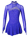 Figure Skating Dress Women\'s Girls\' Ice Skating Dress Aquamarine Spandex Elastane Competition Skating Wear Handmade Jeweled Rhinestone Long Sleeve Ice Skating Figure Skating