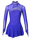 Figure Skating Dress Women\'s Girls\' Ice Skating Dress Aquamarine Spandex Elastane Competition Skating Wear Handmade Jeweled Rhinestone Long Sleeve Ice Skating Figure Skating
