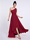 A-Line Princess One Shoulder Asymmetrical Chiffon Bridesmaid Dress with Sash / Ribbon Side Draping by LAN TING BRIDE®