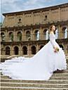 Haine Bal De Pe Umăr Trenă Catedrală Dantelă Made-To-Measure rochii de mireasa cu Dantelă / Eșarfă / Panglică / Flori de LAN TING BRIDE®