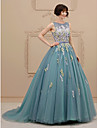 Printesa bijuterie capela tren rochie de mireasa tul cu aplicatii de lan ting bride®