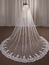 One-tier Wedding Veil Chapel Veils with Appliques Lace / Tulle / Angel cut / Waterfall