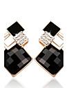 Pentru femei Cercei Stud Diamant sintetic Sapphire sintetic Clasic Modă Pietre sintetice Aliaj Geometric Shape Bijuterii Negru și Auriu