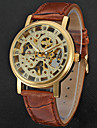 WINNER Bărbați Ceas La Modă Ceas Elegant Ceas de Mână Mecanism manual Gravură scobită Piele Bandă Lux Vintage Casual Cool Negru Maro