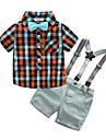 Băieți Set Îmbrăcăminte Plisat Bumbac Vară Manșon scurt Casual Roșu-aprins Galben Albastru Deschis