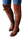 Per donna Scarpe PU (Poliuretano) Inverno Autunno Stivali Innovativo Comoda Stivaletti Punta tonda Stivali meta polpaccio Lacci per