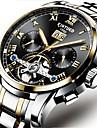 Bărbați ceas mecanic Chineză Calendar / Cronograf / Rezistent la Apă Bandă Lux / Casual / Modă Negru / Argint / Mecanism automat / Gravură scobită