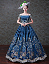 Vintage Rococo Victorian 18th Century Costume Women\'s Dress Party Costume Masquerade Blue Vintage Cosplay Sleeveless Floor Length