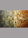 HANDMÅLAD Blommig/Botanisk Horisontell Panoramautsikt, Enkel Rustik Moderna Duk Hang målad oljemålning Hem-dekoration En panel