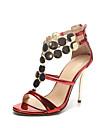 Sandale Vară Pantofi Club Noutăți Piele Originală Nuntă Rochie Party & Seară Toc Stiletto Paiete Fermoar Roșu Argintiu Auriu