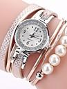 Pentru femei Ceas Brățară Simulat Diamant Ceas ceasul cu ceas Quartz Piele PU Matlasată Negru / Alb / Albastru imitație de diamant Analog femei Casual Boem Modă - Portocaliu Albastru Roz Un an Durat