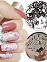 1pc nail art stämpel mall spets arabesque blomma design 5.5cm rund bildskylt