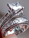 Pentru femei Zirconiu Cubic / Diamant sintetic Inel de logodna - Teak Modă, Elegant 6 / 7 / 8 Argintiu Pentru Logodnă / Cadou / Petrecere Nuntă / 2pcs