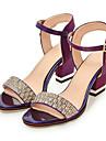 Pentru femei Pantofi PU Primăvară / Toamnă Confortabili / Noutăți Sandale Toc Îndesat Vârf deschis Piatră Semiprețioasă / Cataramă Bej /