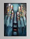 Hang målad oljemålning HANDMÅLAD - Människor Samtida Enkel Moderna Duk
