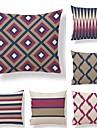 6 buc Textil Bumbac/In Față de pernă, Dungi Carou/Striat Geometric